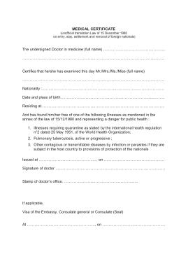 Free Download PDF Books, Medical Certificate for Visa Template