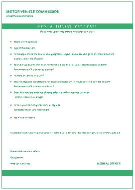 Free Download PDF Books, Motor Vehicla Medical Certificate Template