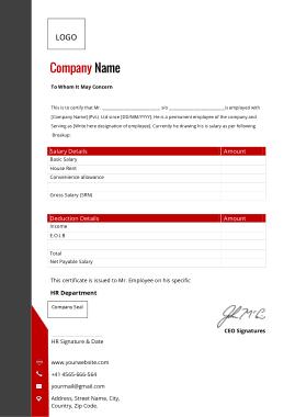 Salary Certificate Format Template