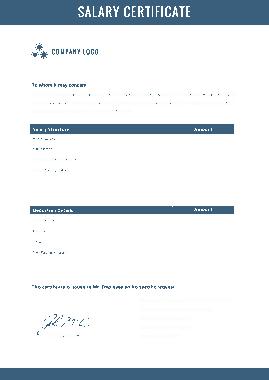Free Download PDF Books, Standard Salary Certificate Template