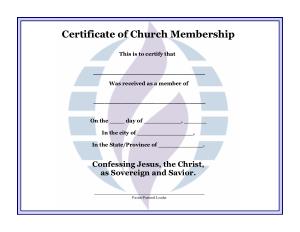 Free Download PDF Books, Certificate of Church Membership Template