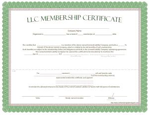 Free Download PDF Books, LLC Membership Certificate Template