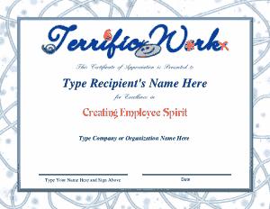 Free Download PDF Books, Employee Spirit Recognition Award Certificate Template