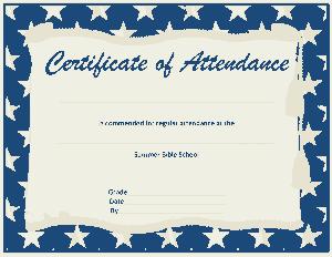 Free Download PDF Books, Bible School Attendance Certificate Template