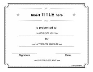 Free Download PDF Books, Blank School Certificate Template