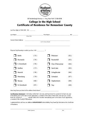 High School Certificate of Recidence Template