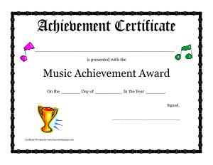 Free Download PDF Books, School Music Award Certificate Template