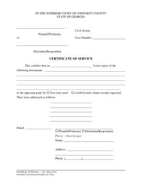 Certificate of Service Sample Template
