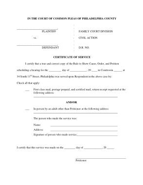 Court Service Certificate Template