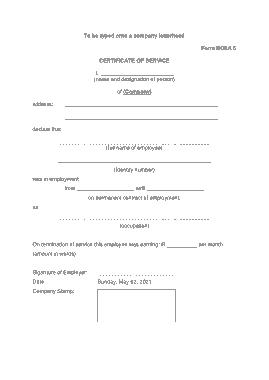Free Download PDF Books, Service Certificate Document Template