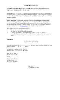Service Certificate Form Template