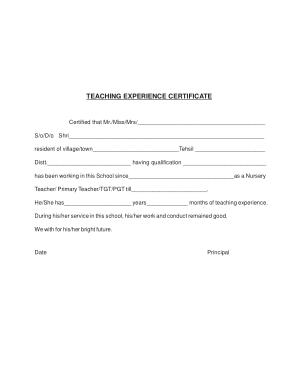 Free Download PDF Books, Teacher Experience Service Certificate Template