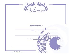 Free Download PDF Books, Volunteer Certificate Sample Template