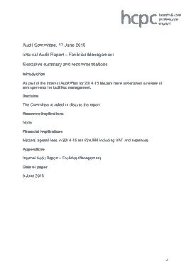 Facilities Management Internal Audit Report Template