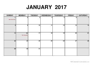 2017 Blank Monthly Calendar Template