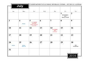 Fiscal Month Calendar Template