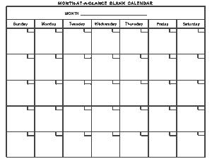 Generic Blank Monthly Calendar Template