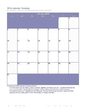 Microsoft Monthly Calendar Template