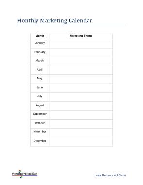 Monthly Marketing Calendar Sample Template