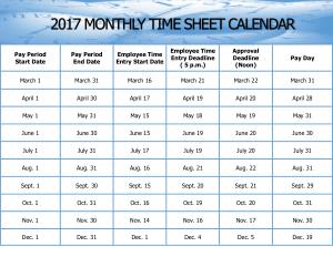 Monthly Time Sheet Calendar Template