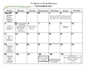 Preschool Monthly Calendar Template