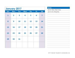Printable 2017 Monthly Calendar Template