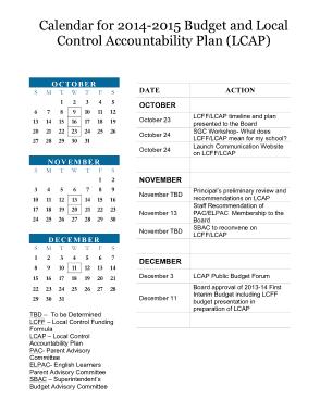 Sample 3 Month Budget Calendar Template
