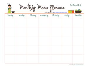 Sample Monthly Menu Calendar Template