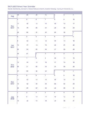 Free Download PDF Books, 2017-2018 School Year Calendar Template