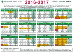 Model Year Calendar 2016-2017 Template