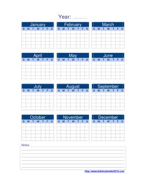 Sample Yearly Calendar Template