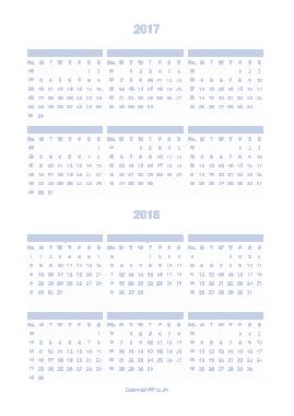 Free Download PDF Books, Split Year Calendar 2017-2018 Template