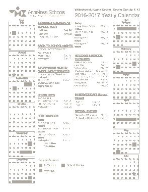 Yearly Preschool Calendar Template