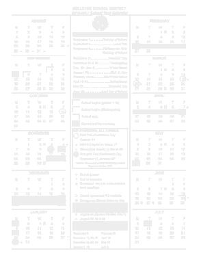 Yearly School Calendar Printable Template