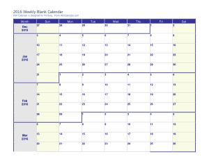 2016 Weekly Calendar Template