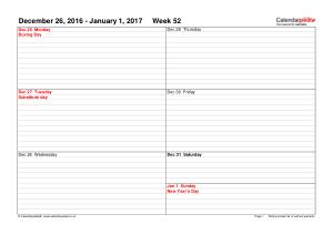 Free Download PDF Books, 52 Weekl Schedule Calendar Template