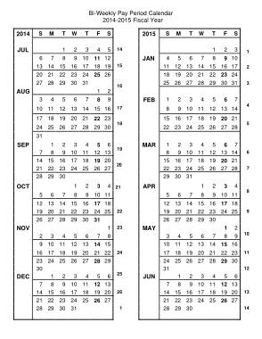 Bi Weekly Pay Period Calendar Template
