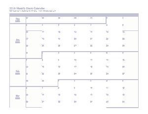 Free Download PDF Books, Blank Weekly Calendar 2016 Template