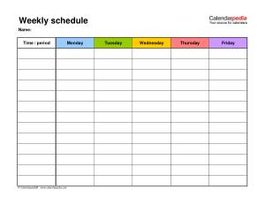Blank Weekly Schedule Calendar Template