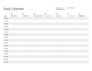 Daily Calendar Format Template