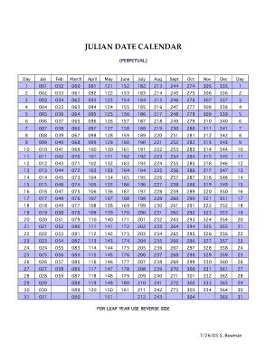 Julian Date Week Calendar Template