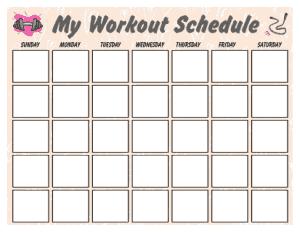 My Weekly Workout Calendar Template