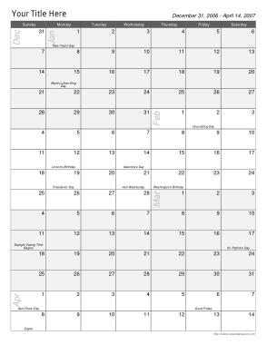 Printable Multi Week Calendar Template