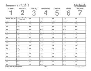 Sample Free Weekly Budget Calendar Template