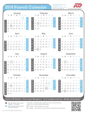 Sample Payroll Weekly Calendar Template