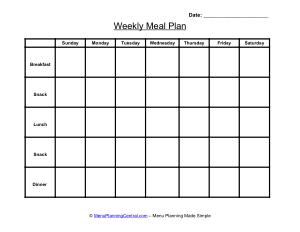 Sample Printable Weekly Menu Calendar Template