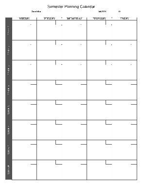 Semester Planning Weekly Calendar Schedule Template