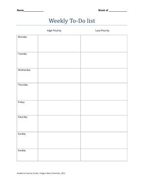 Weekly Calendar To Do List Template