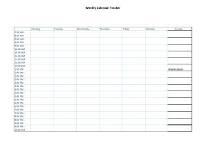 Weekly Calendar Tracker Template