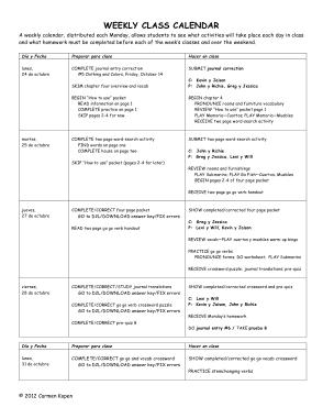 Weekly Class Calendar Template